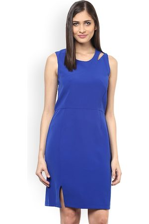 109F Women Blue Solid Sheath Dress