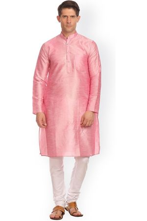 Wintage Men Pink & White Solid Kurta with Pyjamas