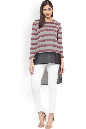 109F Women Maroon Striped Longline Top
