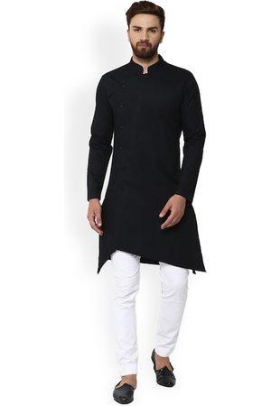 See Designs Men Black Solid Asymmetrical Hem Straight Kurta