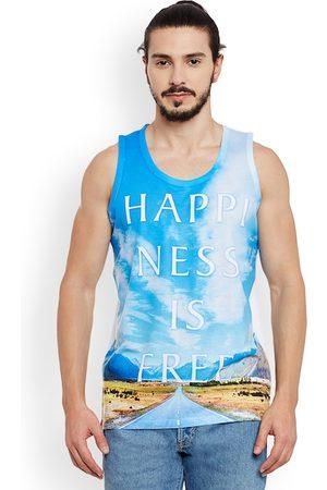 Wear Your Mind Men Blue Printed Round Neck T-shirt