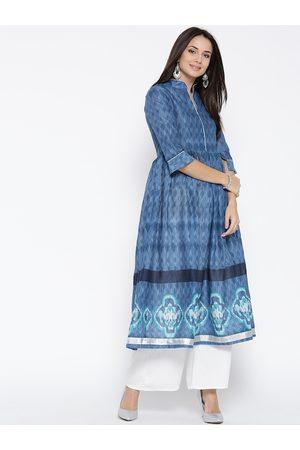 Sera Women Blue & White Printed Kurta with Palazzos