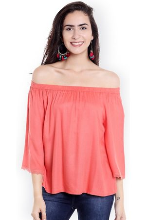 Fusion Beats Women Coral Pink Solid Bardot Top