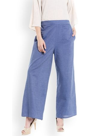 Fusion Beats Women Blue Regular Fit Solid Trousers
