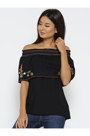 Fusion Beats Women Black Embroidered Bardot Top