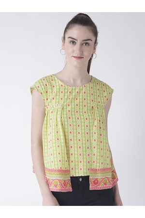 Fusion Beats Women Lime Green Printed Top