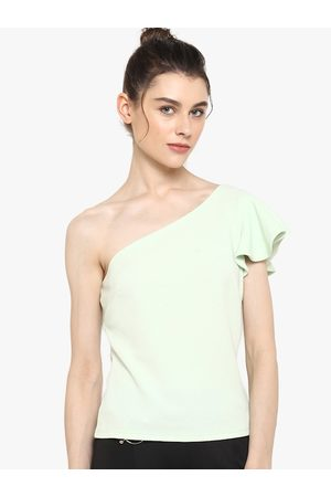 Kazo Women Tops - Women Sea Green Solid Off Shoulder Top
