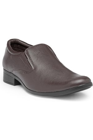 Red Chief Men Brown Leather Formal Slip-Ons