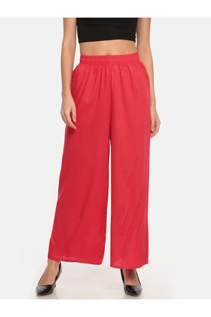 GO COLORS Women Red Solid Straight Palazzos