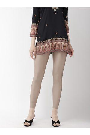 GO COLORS Women Beige Shimmered Ankle-Length Leggings