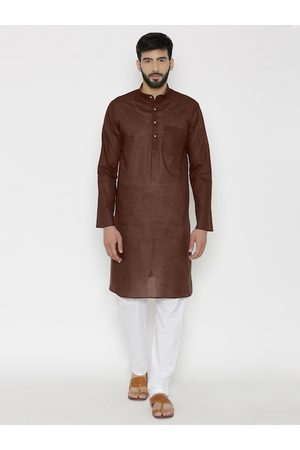 Wintage Men Brown Solid Straight Kurta