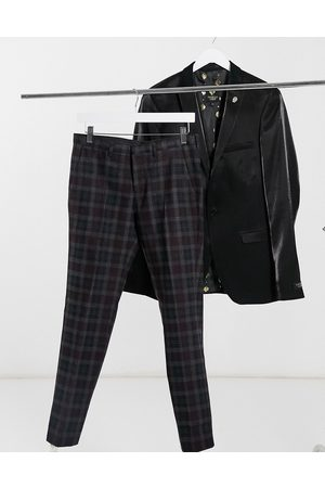 Shelby & Sons Slim fit suit trousers in and burgundy check