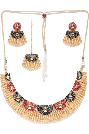 Zaveri Pearls Gold-Toned Pearl Studded Filigree Jewellery Set