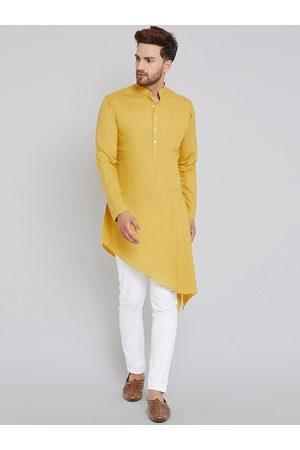 See Designs Men Mustard Yellow Solid A-Line Kurta