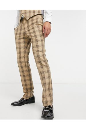 Shelby & Sons Slim fit suit trousers in check