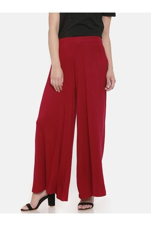 GO COLORS Women Red Solid Wrinkle Resistant Wide Leg Palazzos