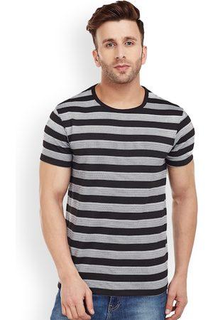 VIMAL JONNEY Men Black Striped Round Neck T-shirt