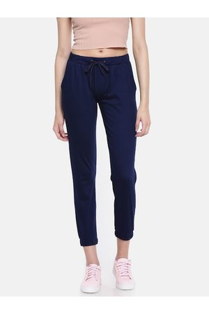 GO COLORS Women Navy Blue Relaxed Fit Cropped Joggers