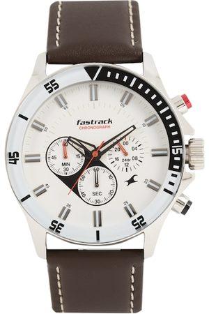 Fastrack Men White & Brown Analogue Watch NK3072SL01