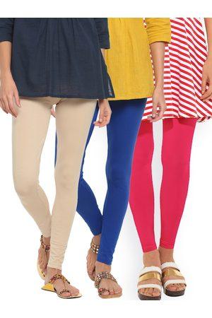 GO COLORS Women Pack of 3 Leggings