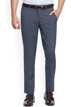 Simon Carter Men Grey Slim Fit Solid Woollen Formal Trousers