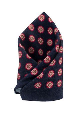 The Tie Hub Men Navy Blue Printed Woolen Square Pocket Square