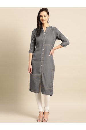 IMARA Women Charcoal Grey Solid Straight Kurta