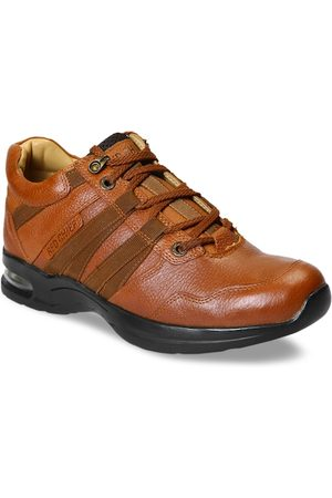 Red Chief Men Tan Brown Leather Sneakers