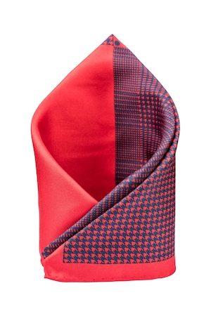 The Tie Hub Men Red & Navy Blue Printed Silk Square Pocket Square