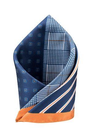 The Tie Hub Navy Blue & Mustard Four Square Printed Pocket Square