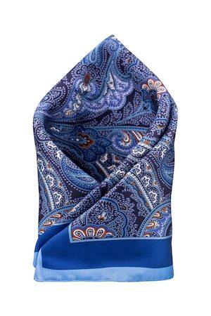 The Tie Hub Blue Paisley Printed Pocket Square