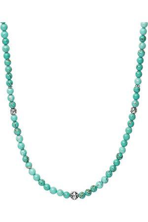 Nialaya Men Necklaces - Turquoise beaded necklace
