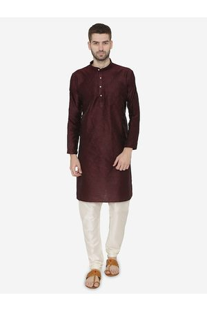 Wintage Men Brown Self Design Kurta with Churidar