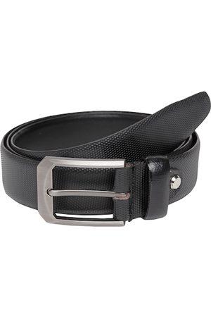 Teakwood Leathers Men Black Leather Textured Belt