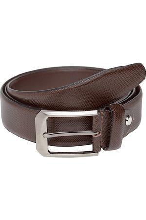 Teakwood Leathers Men Coffee Brown Textured Leather Belt
