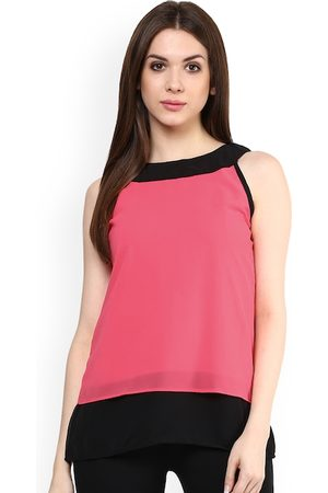 Mayra Women Pink Colourblocked A-Line Top