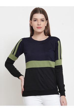 Belle Women Navy Blue Colourblocked Sweatshirt