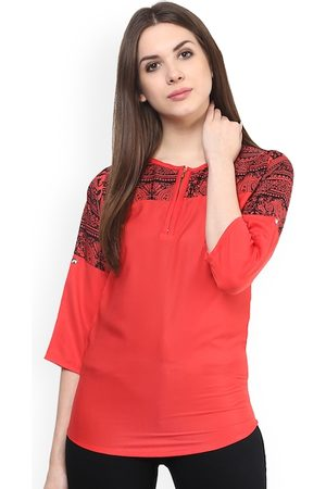 Mayra Women Red Printed Top