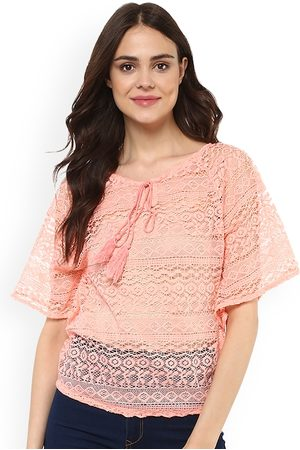 Mayra Women Peach-Coloured Self Design Sheer Top