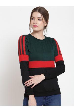 Belle Women Green & Red Colourblocked Sweatshirt