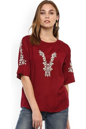 Mayra Women Maroon Self Design A-Line Top