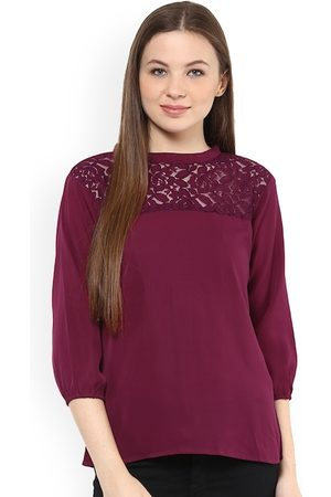 Mayra Women Burgundy Self Design Top