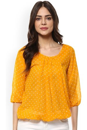Mayra Women Yellow Printed Blouson Top