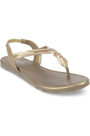 meriggiare Women Gold-Toned Textured Open Toe Flats
