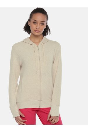 ENAMORA Women Beige-Coloured Solid Hooded Lounge Sweatshirt 7601101
