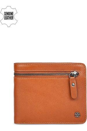 Eske Men Tan Brown Solid Two Fold Leather Wallet