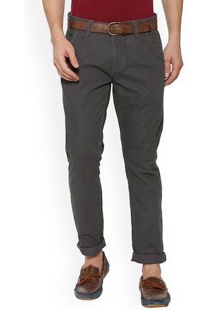 PEOPLE Men Grey Regular Fit Solid Chinos