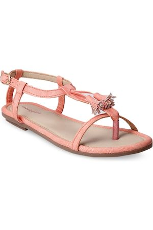 meriggiare Women Peach-Coloured Solid Synthetic Open Toe Flats
