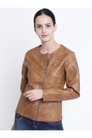 Crimsoune Club Women Tan Solid Biker Jacket