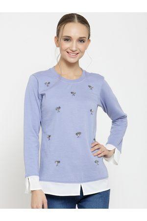 Belle Women Blue Solid Sweatshirt